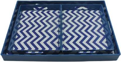 Conjunto de Bandejas Azul e Branco 3 peças