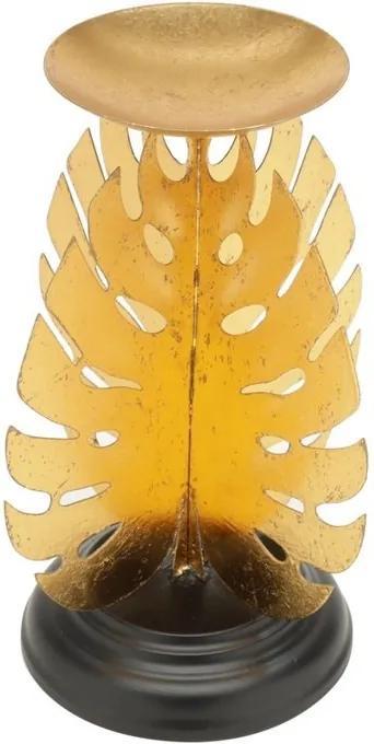 Castiçal De Folha Metal Preto E Dourado 18x25cm 60523 Royal