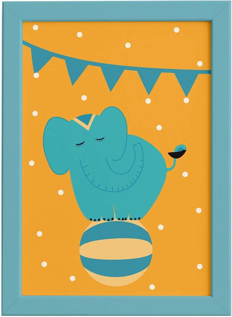 Quadro Infantil Circo Elefante Quarto Moldura Azul 22x32