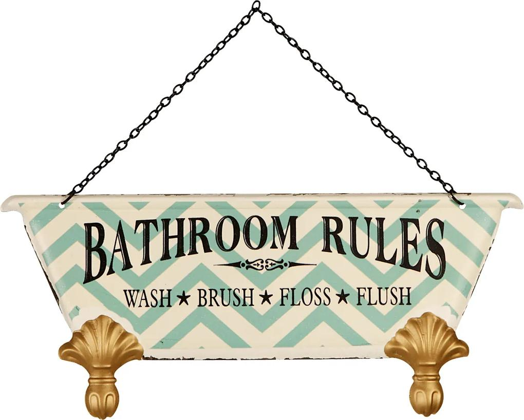 Placa Decorativa Bathroom Rules