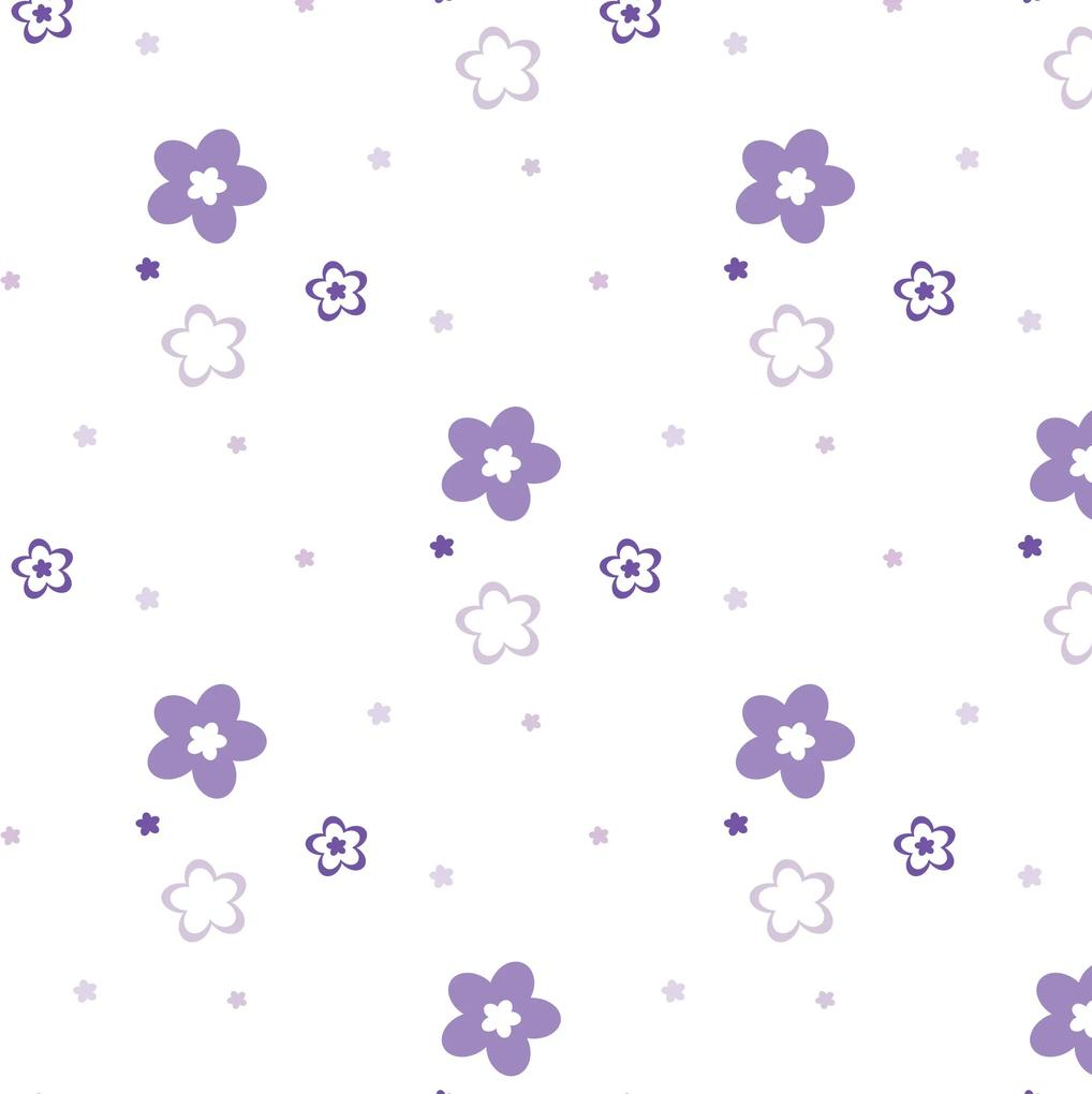 Papel de Parede Lilás Floral para Quarto 57x270cm