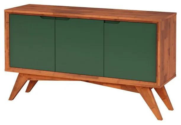 Buffet Serafim 3 Portas Natural e Verde Musgo - Wood Prime MP 27625