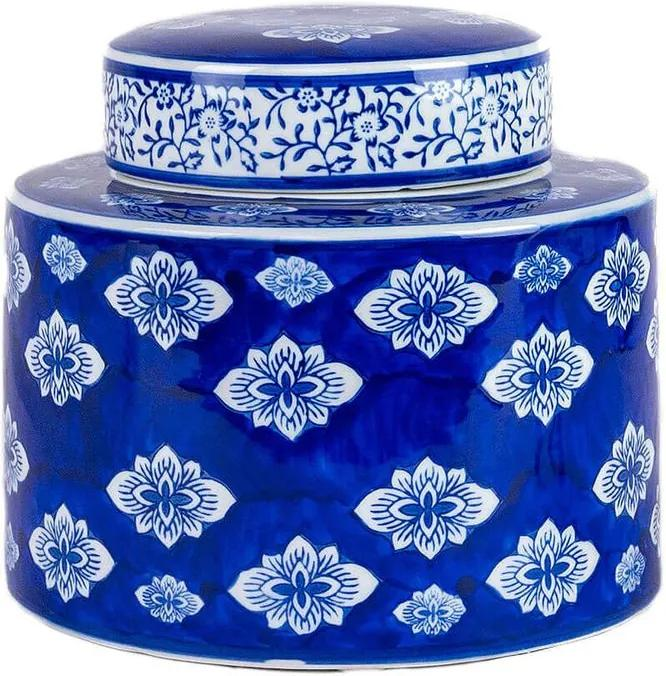 Pote Porcelana Azul e Branco Desenhado