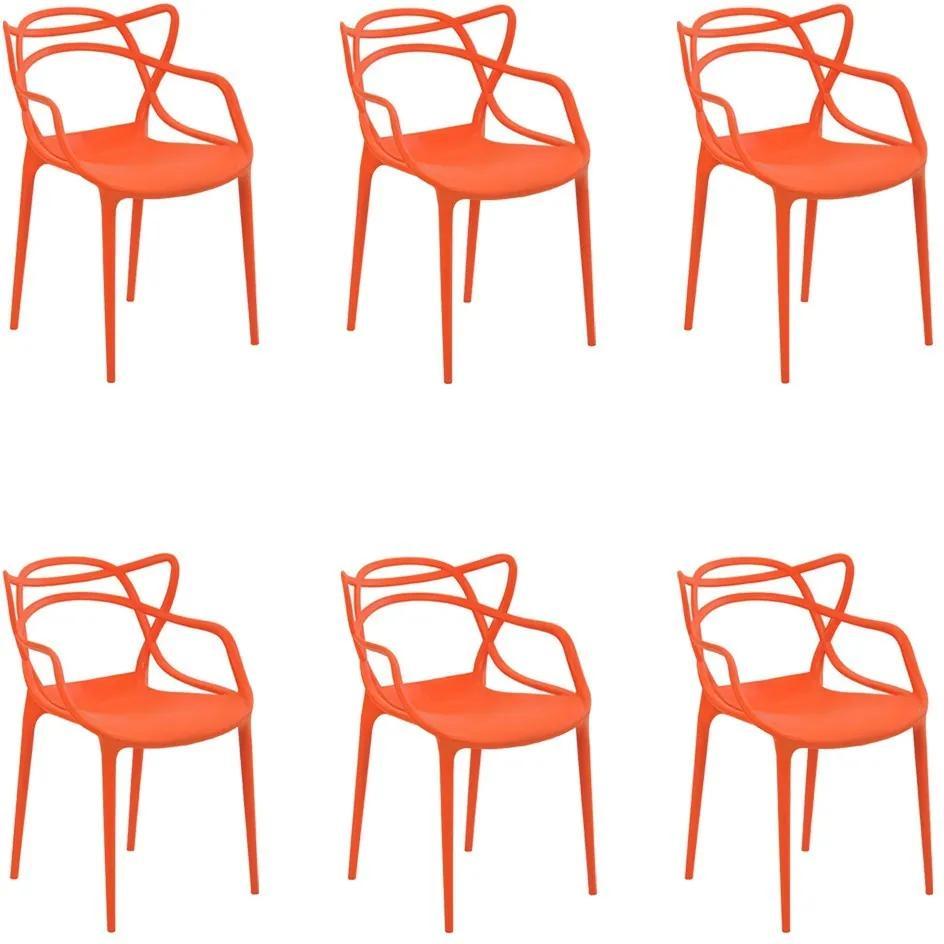 Kit 6 Cadeiras Decorativas Sala e Cozinha Feliti (PP) Laranja - Gran Belo