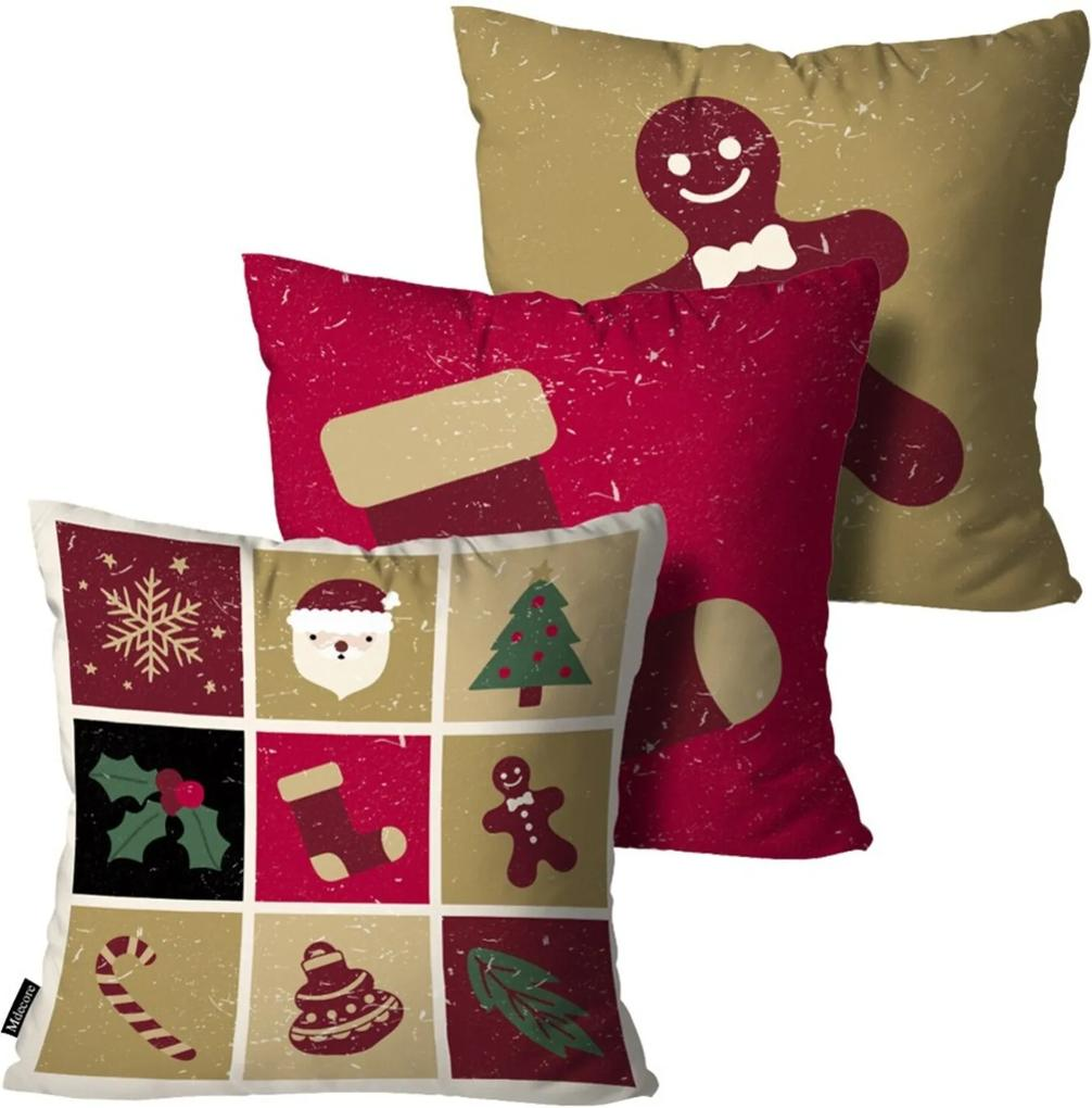Kit 3 Almofadas Mdecore de Natal Decorativas Vermelha 55x55