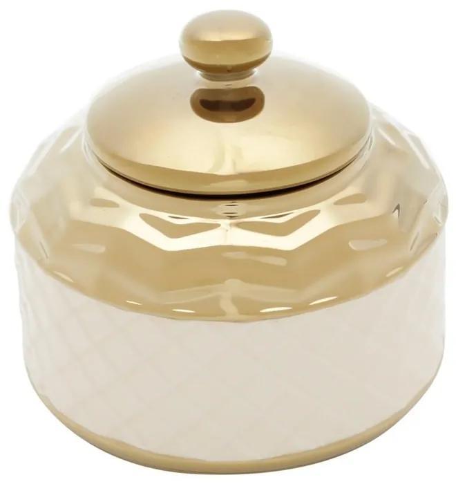 Potiche De Cerâmica Branco E Dourado 14x13cm 60141 Royal