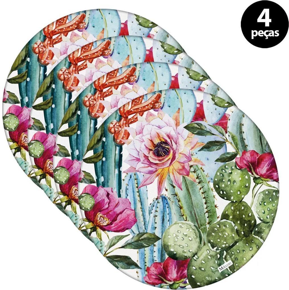 Sousplat Mdecore Floral 35x35cm Rosa4pçs