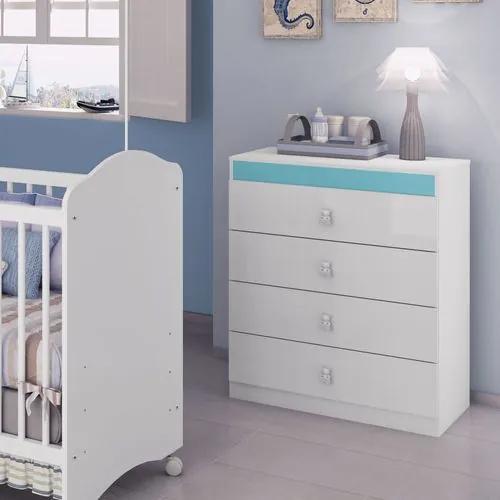 Cômoda Infantil 4 Gavetas com Puxadores de Ursinhos Satriani - Pintura UV - Flex Branco Brilho/Azul