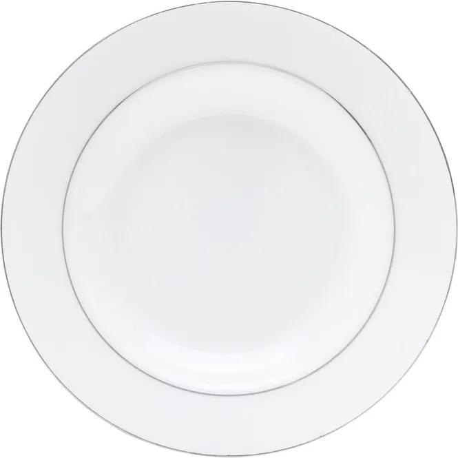 Jogo Pratos Sobremesa Porcelana 6 Peças Bone China Nice Silver 20cm 1190 Wolff