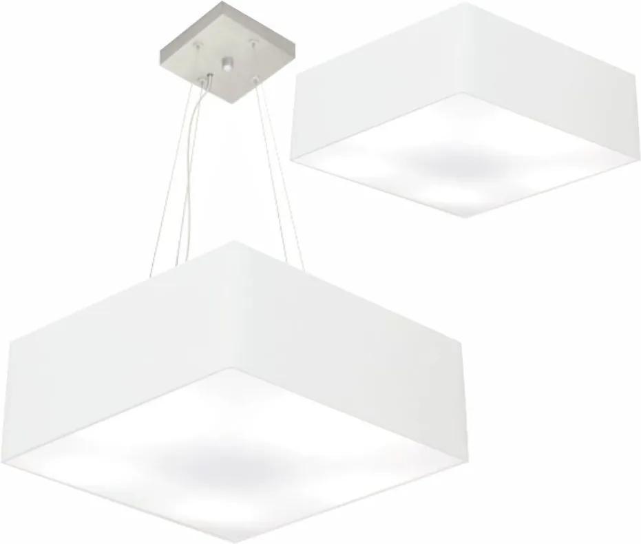 Kit Plafon Quadrado Md-3002 e Pendente Md-4032 Cúpula em Tecido 50x50cm 50x50cm Branco - Bivolt