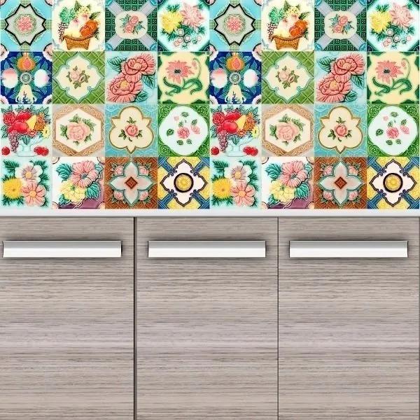 Adesivo Azulejos Flores E Frutos (20x20cm)