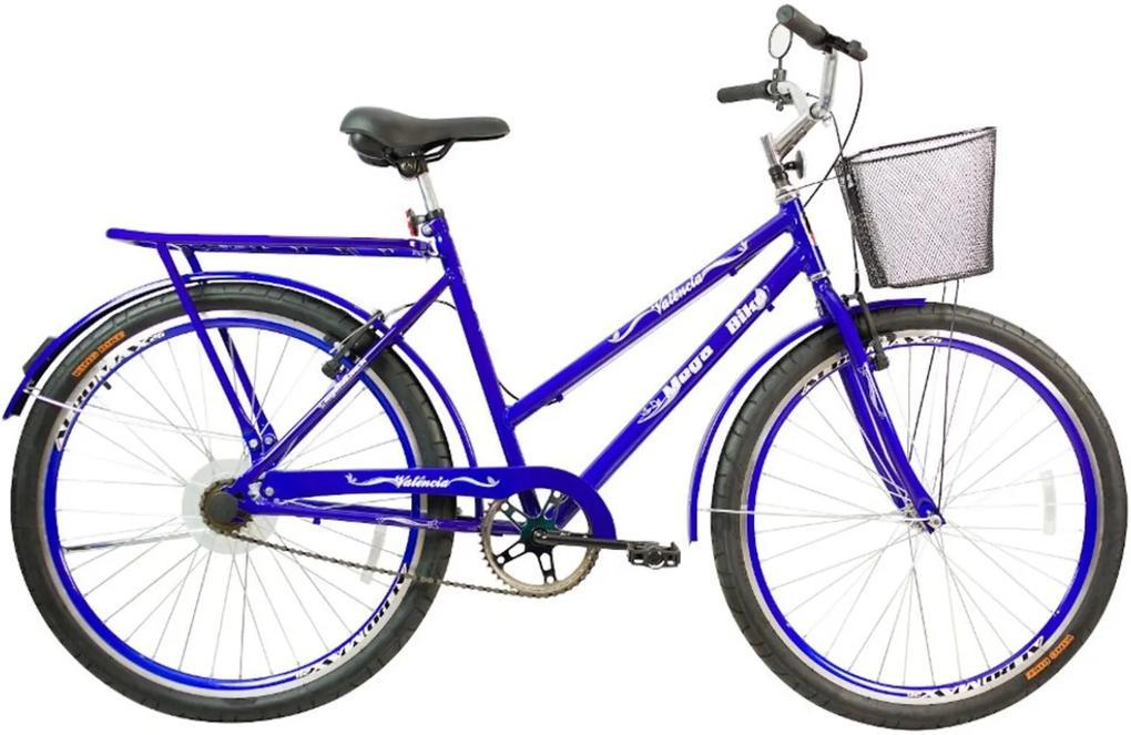 Bicicleta Aro 26 Freio V-Break Quadro Aço Valência Azul Gold - Mega Bike
