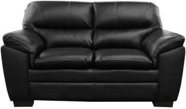 Sofá de Couro Connor 2 Lugares - Preto com Brilho - Mempra