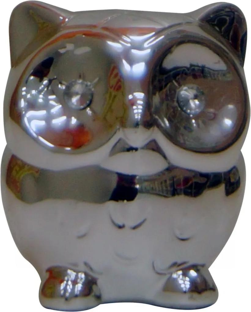 Cofre Real Arte Espelhado de Coruja Prata