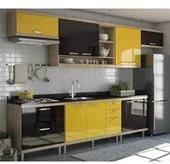 Cozinha Modulada Sicilia Argila Preto Amarelo 07 Módulos Multimoveis