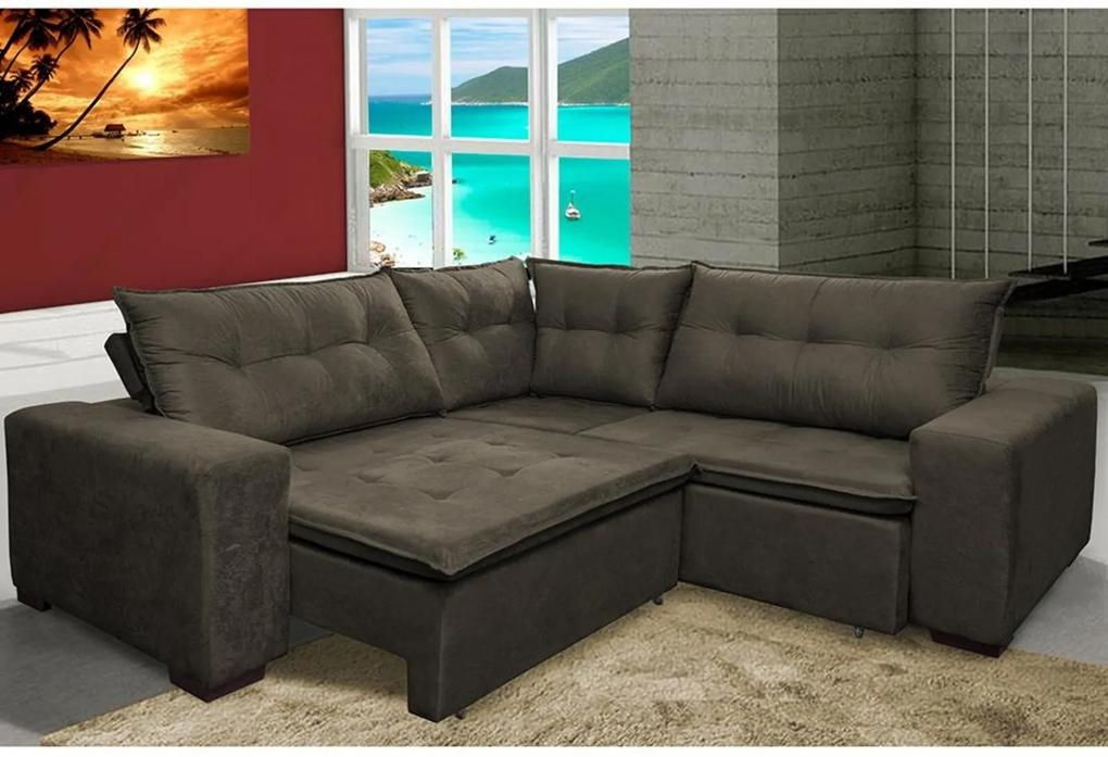 Sofa de Canto Retrátil e Reclinável com Molas Cama inBox Oklahoma 2,30m x 2,30m Suede Velusoft Café