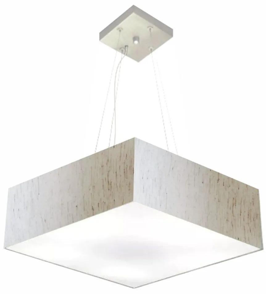 Lustre Pendente Quadrado Md-4137 Cúpula em Tecido 15/70x70cm Linho Bege - Bivolt