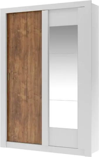 Guarda Roupa Elus 2 Portas de Correr e Espelho Carraro - Branco/Native