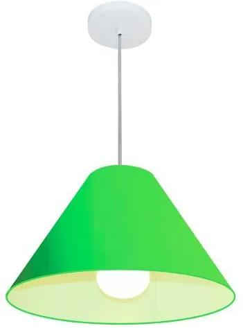 Lustre Pendente Cone Md-4078 Cúpula em Tecido 25/40x15cm Verde Limão - Bivolt