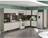 Cozinha Completa Modulada Malbec Avelã 14 Peças 7550 PT Móveis