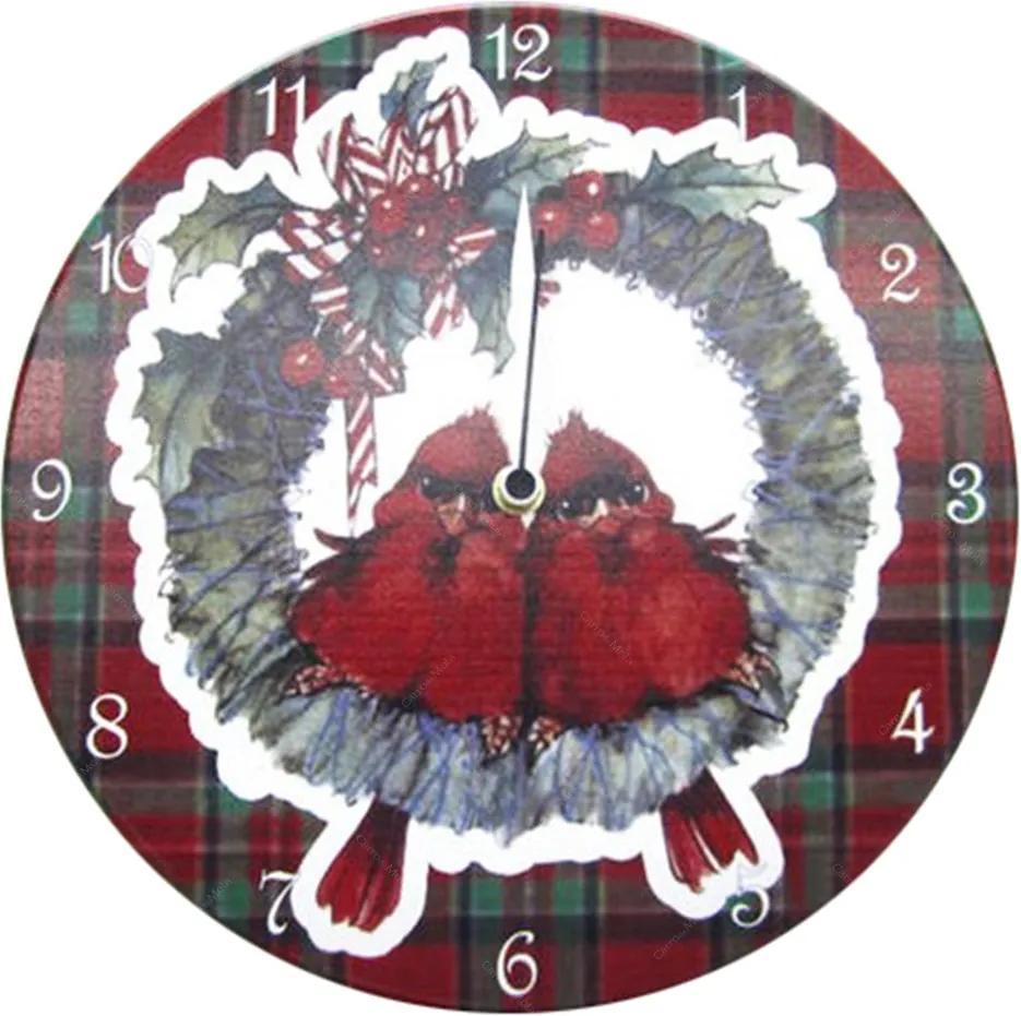 Relógio de Parede Pássaro Natalino em Madeira MDF - 28 cm