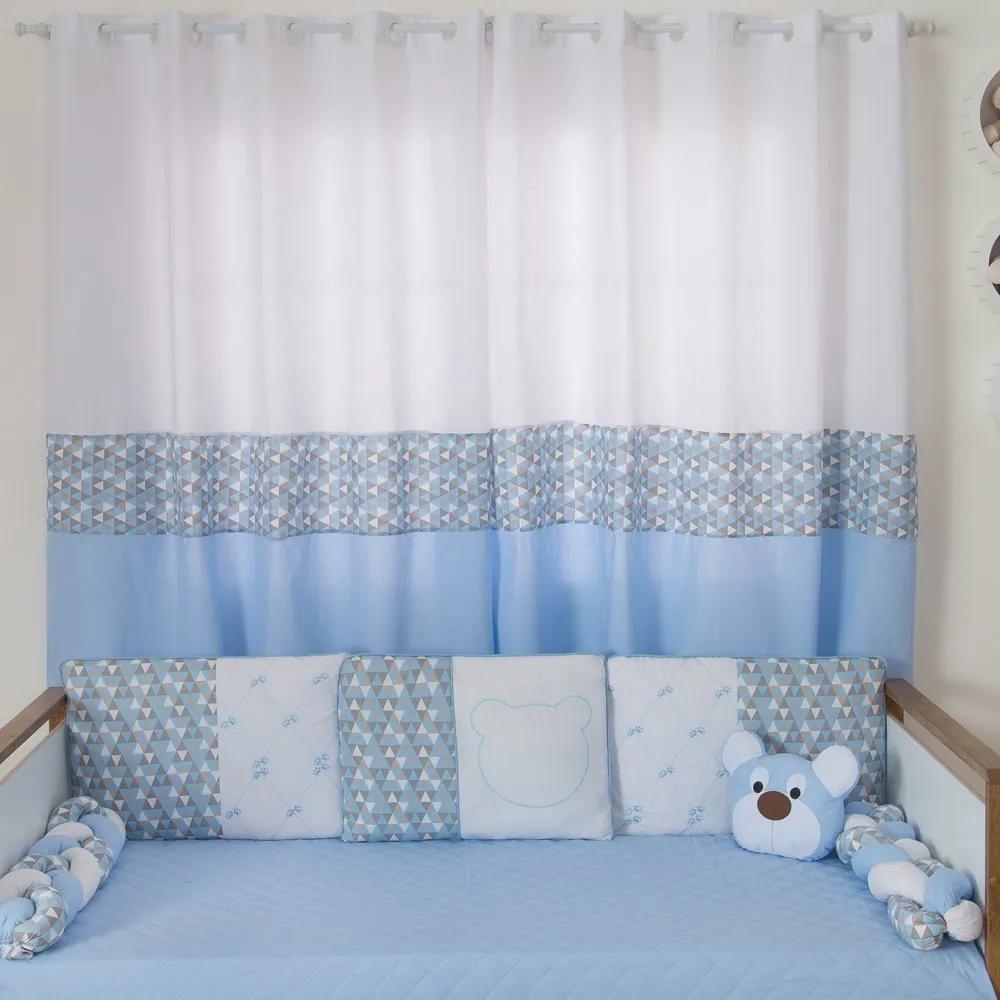 Cortina para Quarto de Bebê Urso Dengoso Azul