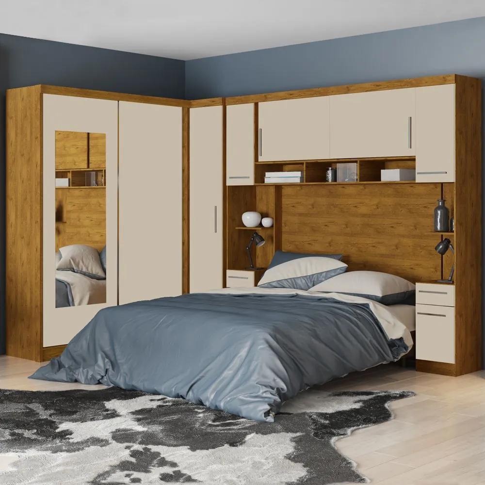 Guarda-Roupa Casal 9 Portas 5 Gavetas com Espelho Milão Nature Mad/Off White - Robel Móveis