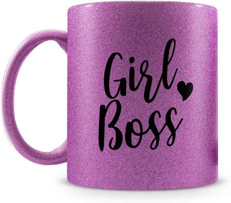 Caneca Personalizada Girl Boss Glitter Roxo