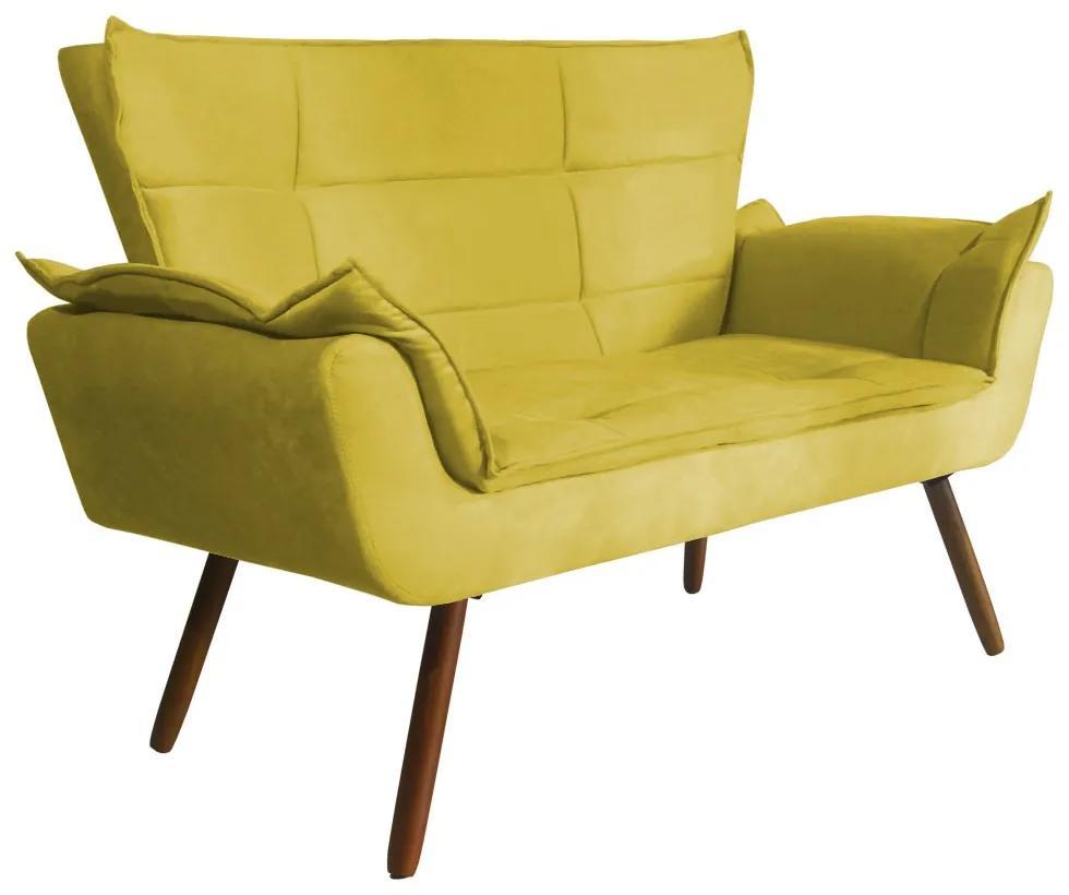 Namoradeira Opala 1,35m 2 Lug Decorativa Suede Amarelo
