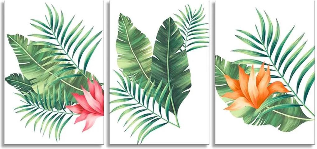 Quadro Oppen House 60x120cm Folhagem Palmeira e Flor Canvas Decoração