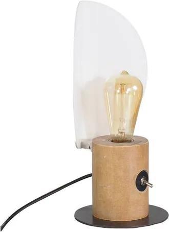Luminaria de Mesa Mirror cor Driftwood com Base Aco Grafite 33 cm (ALT) - 50894 Sun House