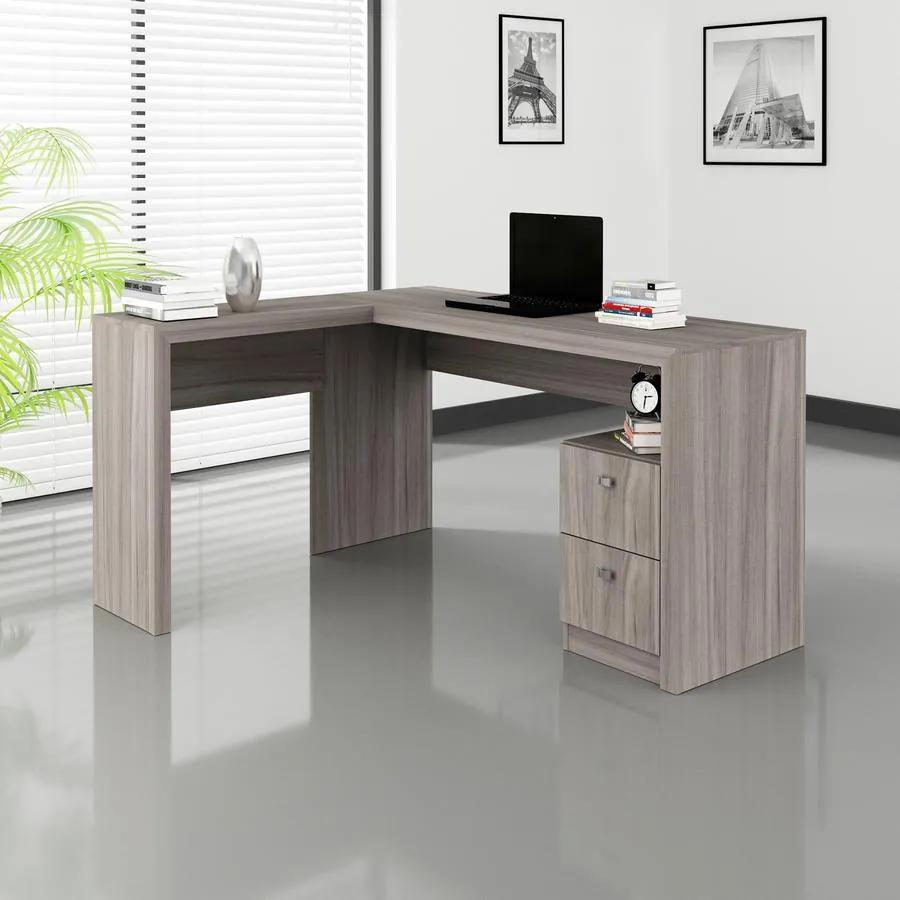 Escrivaninha Mesa Canto Escritório Office 2 Gavetas Carvalho