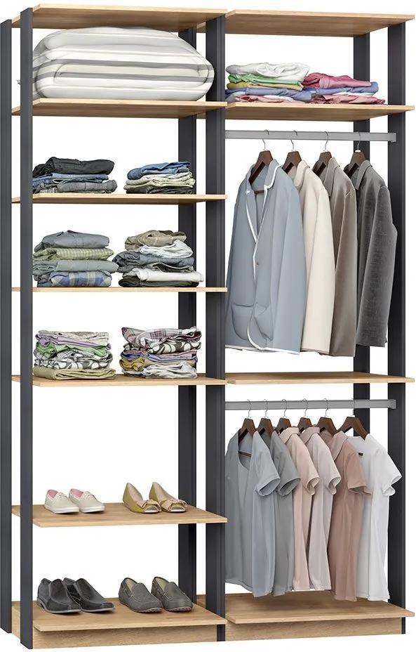 Closet 2 Cabideiros 7 Prateleiras 9010 Carvalho/Espresso - Bentec