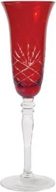 Conjunto Taças de Cristal Lapidado Vermelha  170ml 6 peças