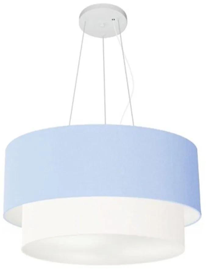 Lustre Pendente Duplo Cilíndrico Vivare Md-4369 Cúpula Tecido 45x40cm - Bivolt - Azul Bebê / Branco - 110V/220V (Bivolt)