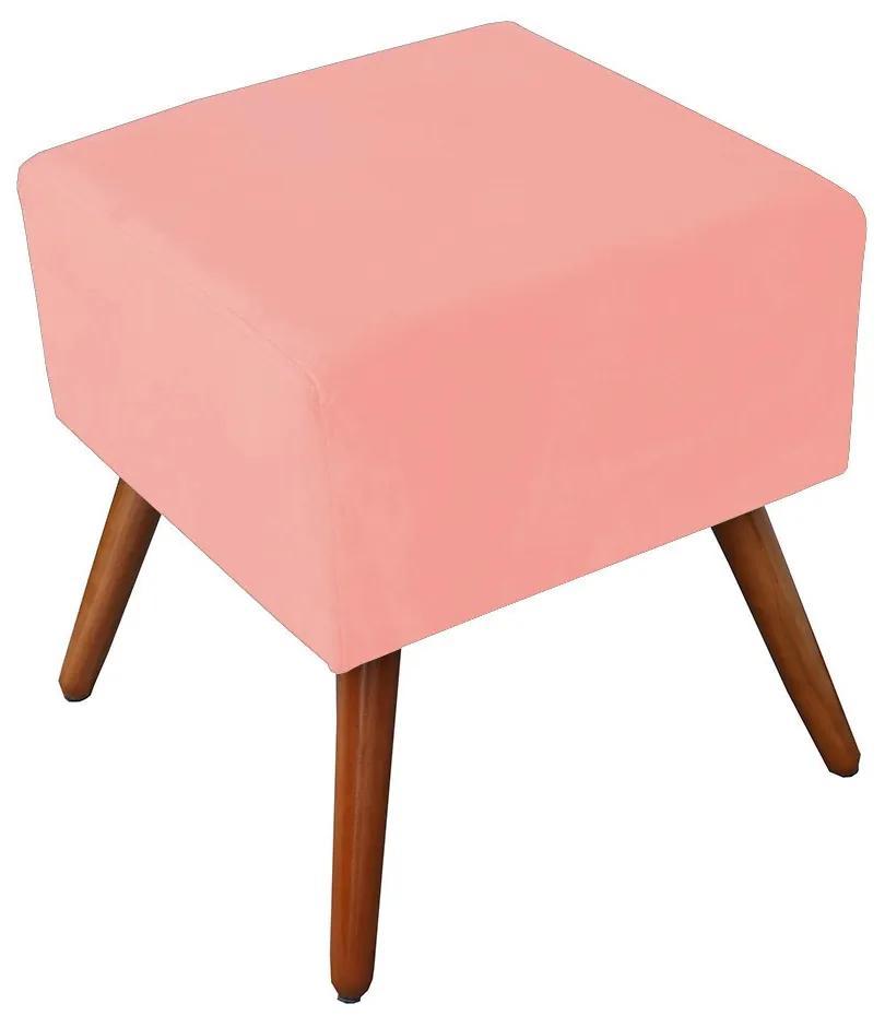 Puff Decorativo Quadrado Malu com Pés Palito Suede Rosê