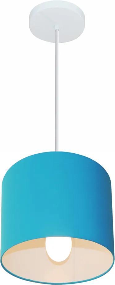 Lustre Pendente Cilíndrico Md-4046 Cúpula em Tecido 18x18cm Azul Turquesa - Bivolt