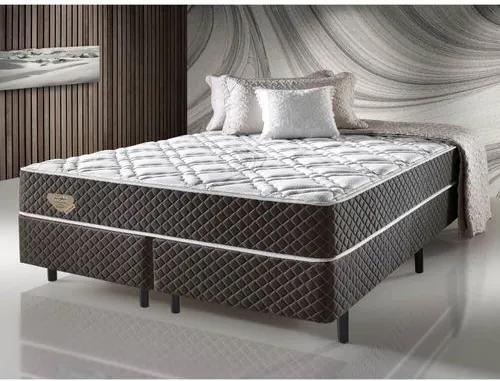 Cama Box Casal Queen Size com Molas Ensacadas Relax Adorabile Marrom - 158x198x66cm