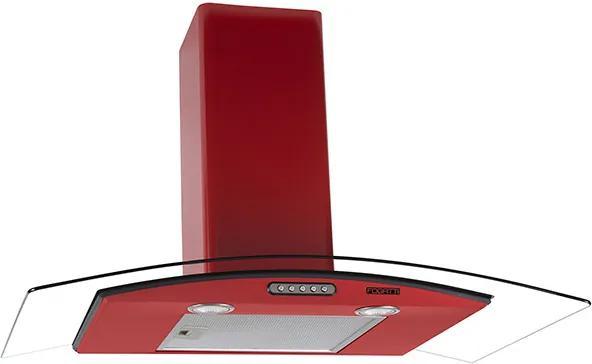 Coifa em Vidro Curvo Slim Vermelho de 90 cm - 220 Volts
