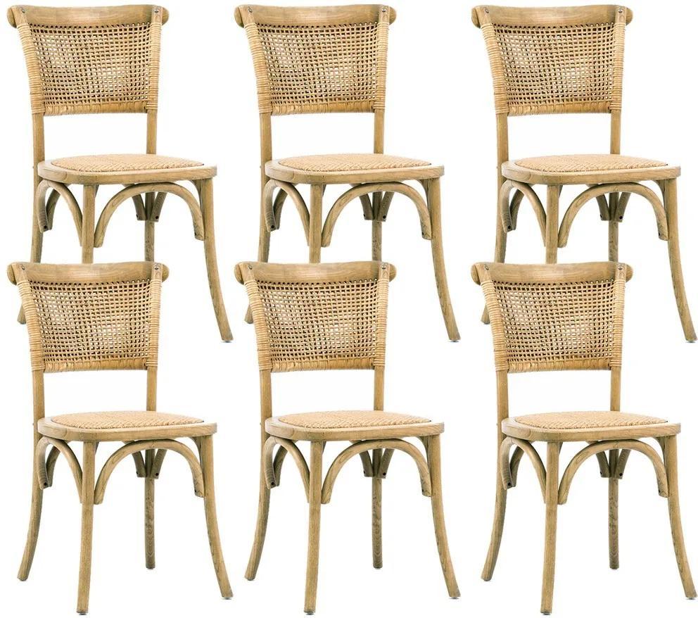 Kit 06 Cadeiras Para Sala de Jantar Cozinha Very Oak Rattan - Gran Belo