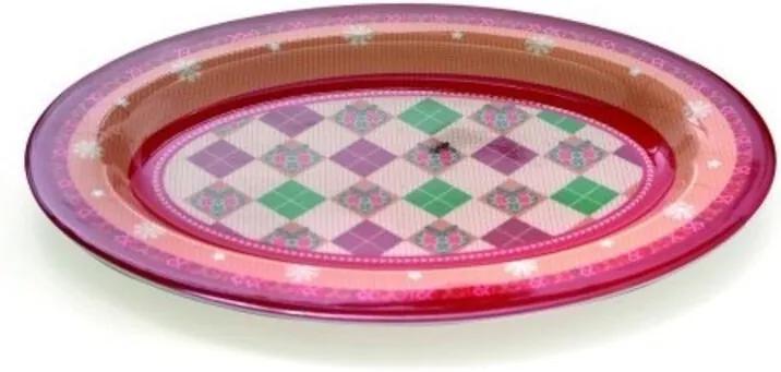 Prato Oval Vermelho Branco Verde - 22 X 29 Cm