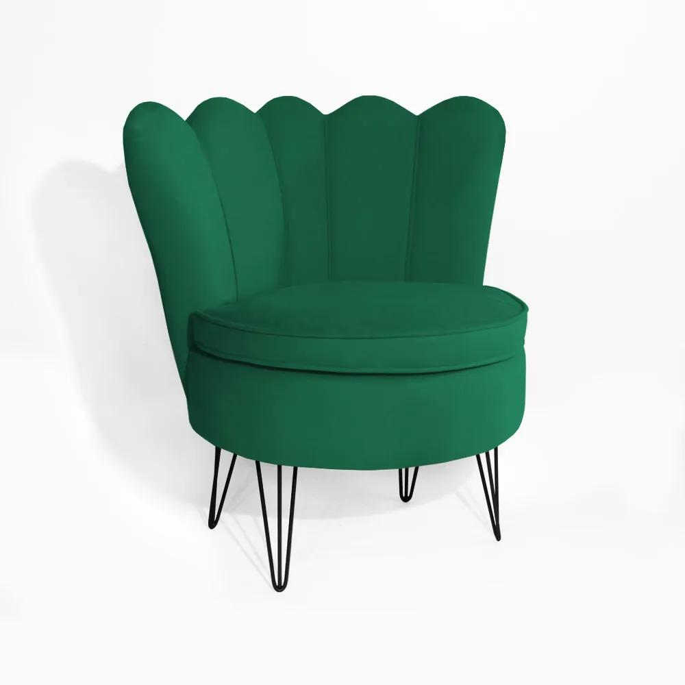 Poltrona Dália Pés Hairpin Legs Preto Suede Verde