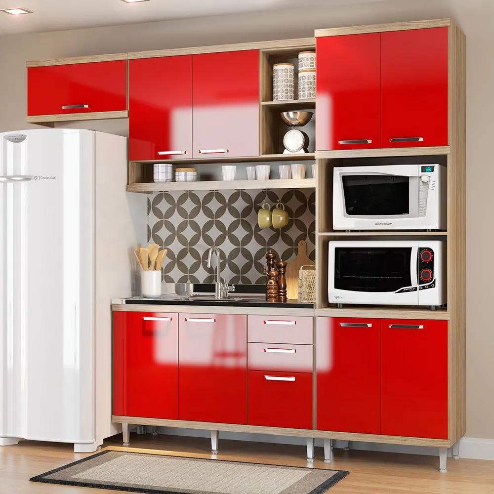 Cozinha Compacta Sem Tampo 9 Portas 5828 Argila/Vermelho - Multimóveis