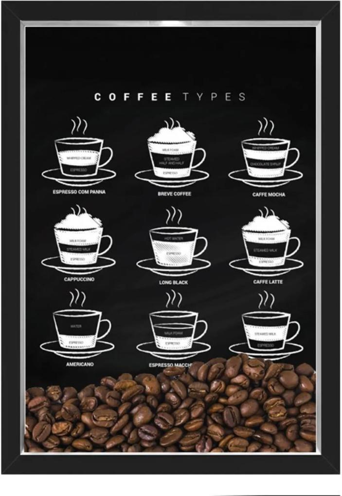 QUADRO CAIXA 33X43  PORTA GRÁOS DE CAFE Nerderia e Lojaria graos cafe types preto