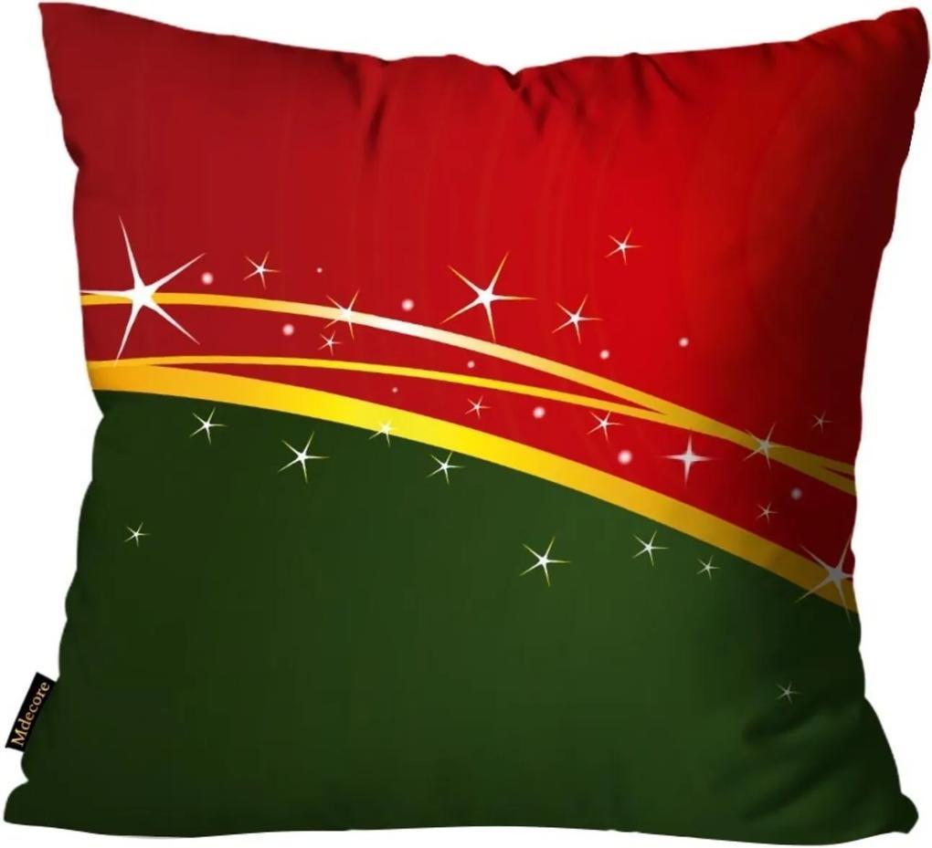 Capas para Almofada Premium Cetim Mdecore Natal Estrela Vermelha 45x45cm