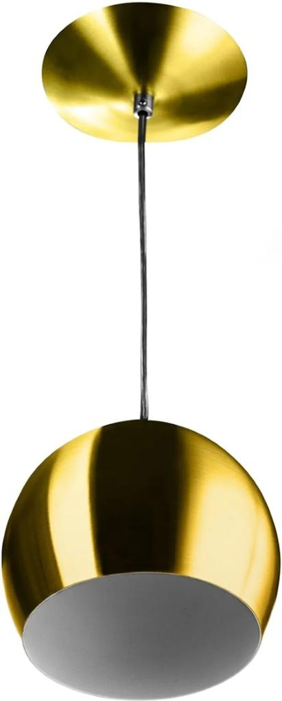 Lustre Pendente Bola Média Alumínio 23cm Dourado