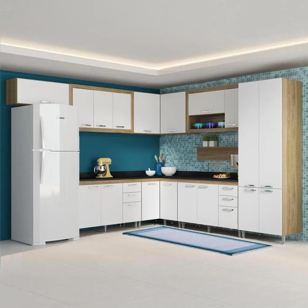 Cozinha Compacta 18 Portas Com Tampo Preto 5717 Branco/Argila - Multimóveis