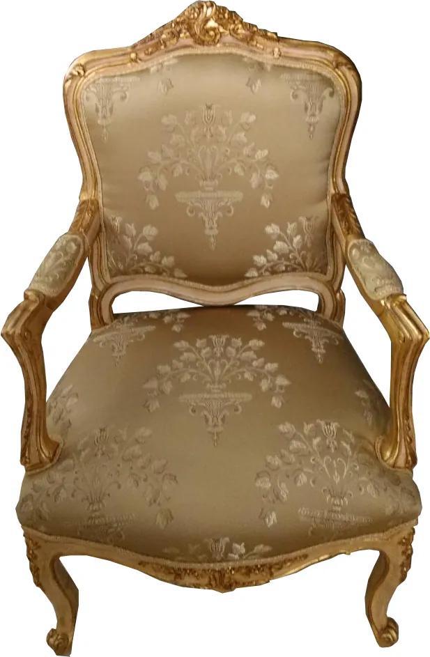 Poltrona Clássica Luis XV Bege Folheada a Ouro