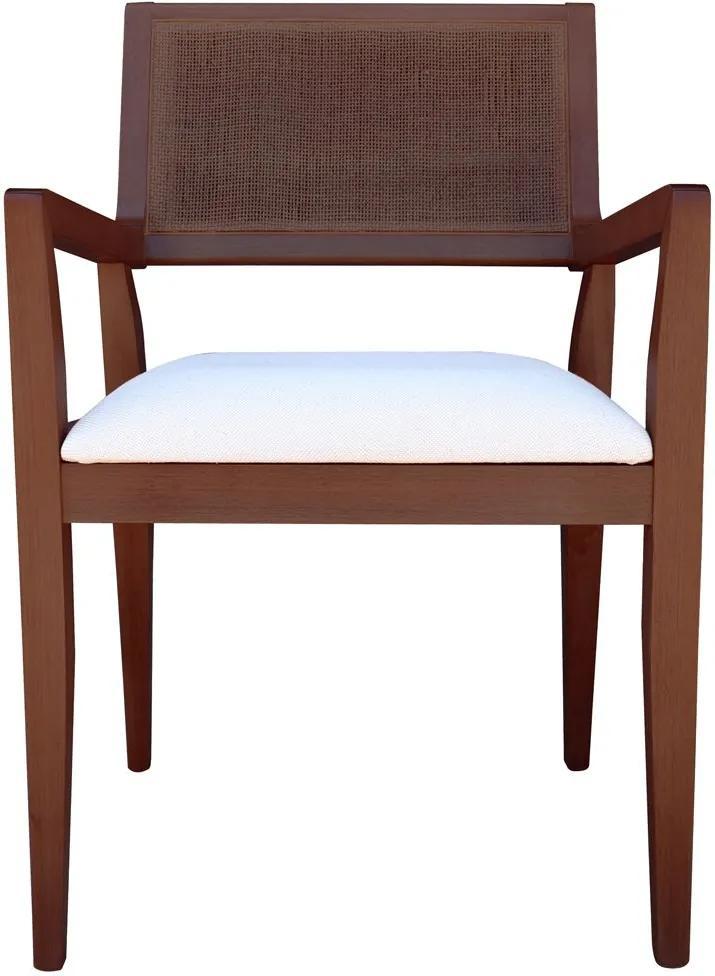 Cadeira Decorativa Sala de Jantar Megan Imbuia Linho Bege - Gran Belo