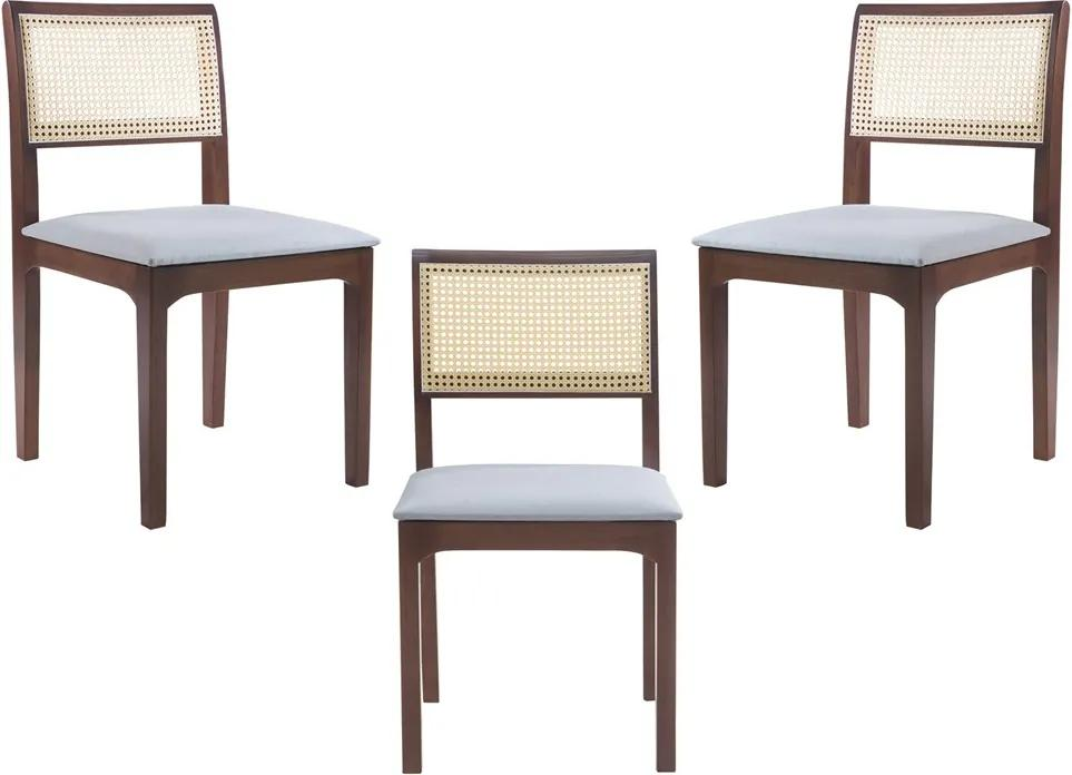 Kit 3 Cadeiras Decorativa Sala de Jantar Nivea Amêndoa - Gran Belo